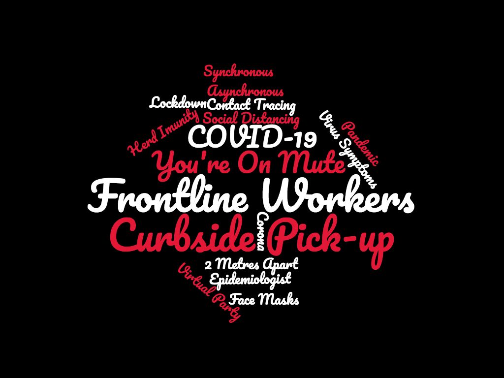 "A word cloud that reads ""Pandemic, Curbside, Frontline workers, Lockdown, Contact Tracing, Virus Symptoms, Virtual, Synchronous, COVID-19, Immunity, Masks, Distancing, 2 Metres, You're On Mute, Asynchronous, Corona, Frontline Workers, Epidemiologist, Herd Immunity, Virtual Party"""