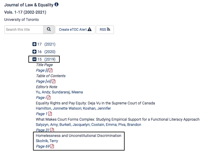 Screenshot of the Journal of Law & Equality from HeinOnline highlighting volume 15 and the article