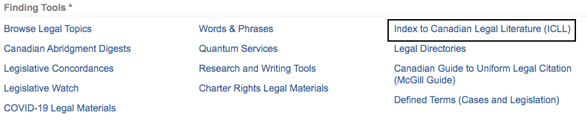 Screenshot of where to locate the Index to Canadian Legal Literature in the WestlawNext database