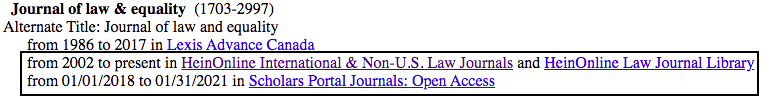 Screenshot of the Journal of Law and Equality entry and the access options via HeinOnline and Scholars Portal